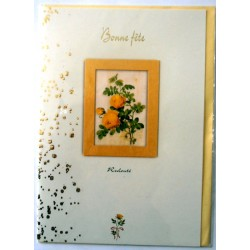 Carte postale double avec enveloppe bonne fête relief fleurs jaune déco doré neuve