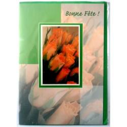 Carte postale double avec enveloppe bonne fête roses orange fond vert neuve
