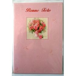 Carte postale double avec enveloppe bonne fête bouquet fleurs pailletés fond rose neuve