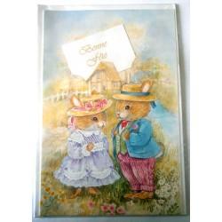 Carte postale double avec enveloppe bonne fête enfants lapins découpé neuve