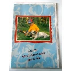 Carte postale double avec enveloppe bonne fête enfants chien fond bleu neuve