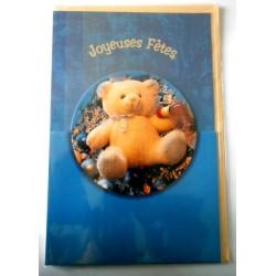 Carte postale double avec enveloppe bonne fête enfants ourson découpé fond bleu neuve