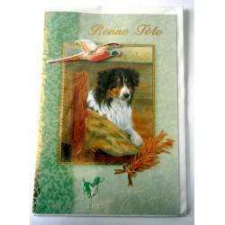 Carte postale double avec enveloppe bonne fête chasse chasseur 3D fond vert neuve