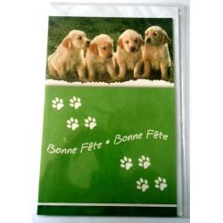 Carte postale double avec enveloppe bonne fête chiots fond vert neuve