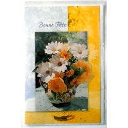 Carte postale double avec enveloppe bonne fête bouquet de fleurs jaune/gris neuve