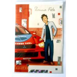 Carte postale double avec enveloppe bonne fête ados rallye MITSUBISHY WRC neuve