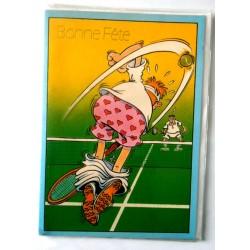Carte postale double avec enveloppe bonne fête humour tennis neuve