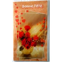 Carte postale double avec enveloppe bonne fête diverses st valentin roses rouges neuve
