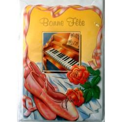 Carte postale double avec enveloppe bonne fête diverses piano ballerines neuve