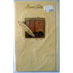 Carte postale double avec enveloppe bonne fête papier kraft plume parchemin neuve