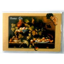 Carte postale double avec enveloppe bonne fête fruit vignoble raisin neuve
