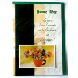 Carte postale double avec enveloppe bonne fête fleurs relief 3D fond vert neuve