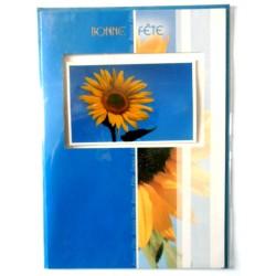 Carte postale double avec enveloppe bonne fête tournesol relief 3D fond bleu neuve