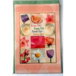 Carte postale double avec enveloppe bonne fête fleurs diverses fond rose neuve