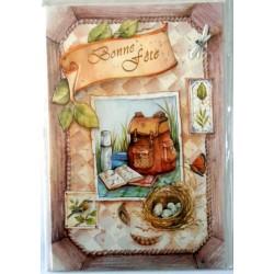 Carte postale double avec enveloppe bonne fête diverses randonnée objets multiples neuve