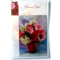 Carte postale double avec enveloppe bonne fête bouquet floral diverses neuve