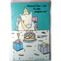 Carte postale double avec enveloppe bonne fête diverses humour enfants neuve