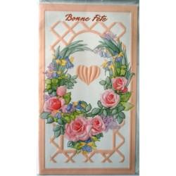 Carte postale double avec enveloppe bonne fête diverses floral relief rose neuve