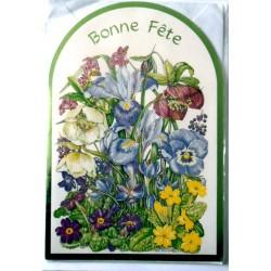 Carte postale double avec enveloppe bonne fête diverses découpé floral vert neuve