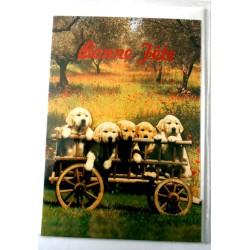 Carte postale double avec enveloppe bonne fête chiots dans charrette relief neuve