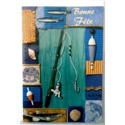 Carte postale double avec enveloppe bonne fête pêche pêcheur canne et ustensiles neuve