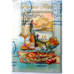 Carte postale double avec enveloppe bonne fête pêche pêcheur intérieur dépliant neuve