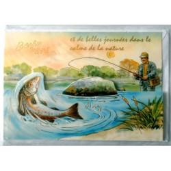 Carte postale double avec enveloppe bonne fête pêche pêcheur découpée neuve