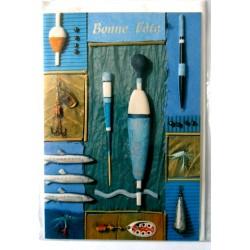 Carte postale double avec enveloppe bonne fête pêche pêcheur divers ustensiles neuve