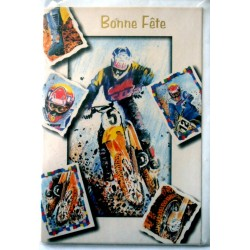 Carte postale double avec enveloppe bonne fête ados moto multi images neuve