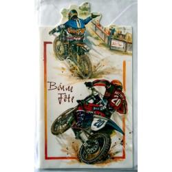 Carte postale double avec enveloppe bonne fête ados 2 motos cross neuve