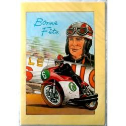 Carte postale double avec enveloppe bonne fête ados pilotes de moto neuve