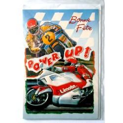 Carte postale double avec enveloppe bonne fête ados moto power up neuve