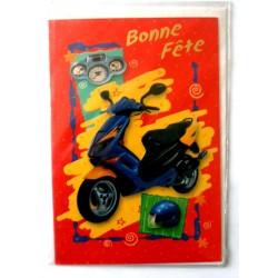 Carte postale double avec enveloppe bonne fête ados scooter fond rouge neuve
