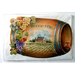 Carte postale double avec enveloppe bonne fête chateau vignoble tonneau découpé neuve