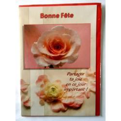 Carte postale double avec enveloppe bonne rose blanche rosé env. rouge neuve