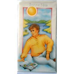 Carte postale double avec enveloppe bonne fête soleil jeune garcon neuve