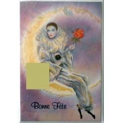 Carte postale double avec enveloppe bonne fête lune harlequin pailleté neuve