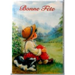 Carte postale double avec enveloppe bonne fête petit garcon avec son chien neuve
