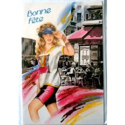Carte postale double avec enveloppe bonne fête promenade jeune fille neuve
