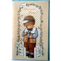 Carte postale double avec enveloppe bonne fête petit garçon fleurs et oiseaux neuve