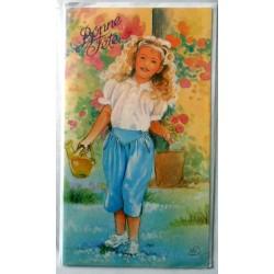 Carte postale double avec enveloppe bonne fête petite fille fleurs arrosoir neuve