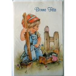 Carte postale double avec enveloppe bonne fête petit garçon avec son chat et oiseau neuve