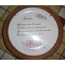 Assiette porcelaine Nous Deux + Cadre Bois a suspendre Offert idée cadeau saint valentin anniversaire Neuve