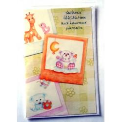 Carte postale double avec enveloppe bravo félicitations humour naissance GAI LURON neuve