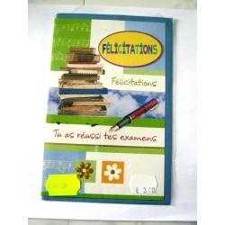 Carte postale double avec enveloppe bravo félicitations examens neuve