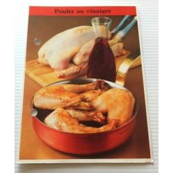 """FICHE CUISINE de ELLE vintage rétro par Madeleine Peter """"poulet au vinaigre """" collection occasion"""