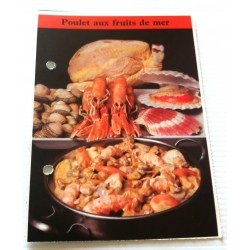 "FICHE CUISINE de ELLE vintage rétro par Madeleine Peter "" poulet au fruits de mer "" collection occasion"