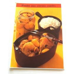 """FICHE CUISINE de ELLE vintage rétro par Madeleine Peter """" poulet aux citrons confits """" collection occasion"""