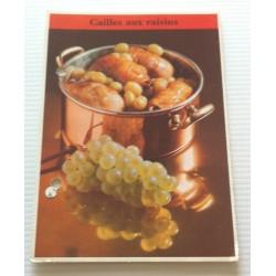 """FICHE CUISINE de ELLE vintage rétro par Madeleine Peter """" cailles aux raisins """" collection occasion"""