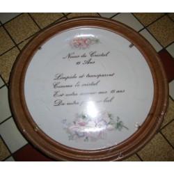 """Assiette porcelaine """"noces de cristal 15 ans de mariage""""+ Cadre Bois pour suspendre Offert Neuve"""